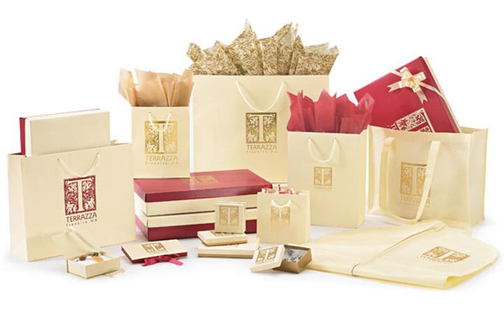 design ideas the premier line promotional packaging gold damask on blue designer eco luxury handmade gift wrap